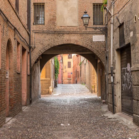 ferrara: Ancient medieval street in the downtown of Ferrara city