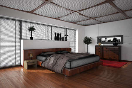 modern lifestyle: 3D interior rendering of a modern bedroom