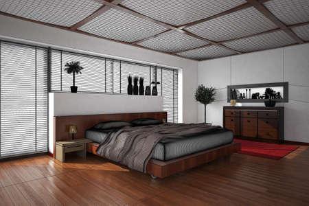letti: Interni rendering 3D di una camera da letto moderna