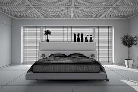 Interni rendering 3D di una camera da letto moderna Archivio Fotografico - 44701435