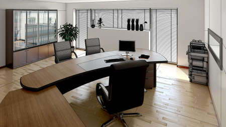 design office: 3D interior rendering of a modern office