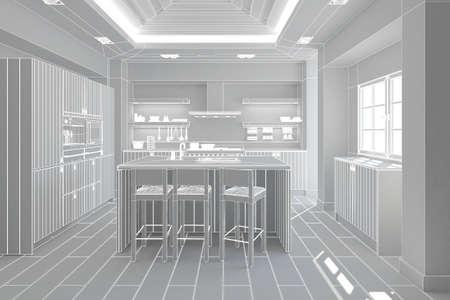 refrigerator kitchen: 3D Interior rendering of a modern kitchen Stock Photo