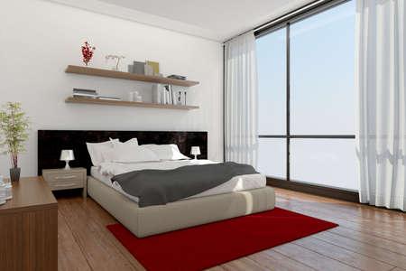 Rendering 3D Interno di una camera da letto moderna Archivio Fotografico - 48051509