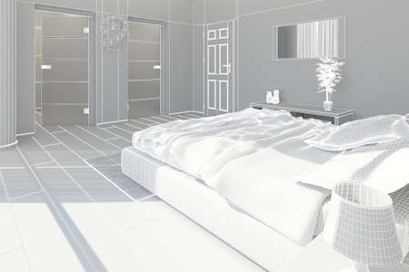 carpet flooring: 3D Interior rendering of a modern bedroom