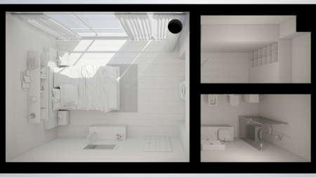 carpet flooring: 3D Interior rendering of a modern bedroom