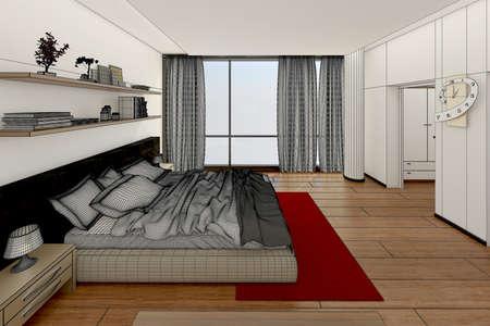 3D rendering Inter di una camera da letto moderna Archivio Fotografico - 48733264