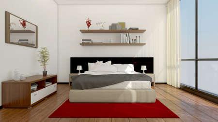carpet and flooring: 3D Interior rendering of a modern bedroom