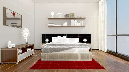 house: 3D Interior rendering of a modern bedroom