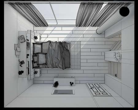 modern interior: 3D Interior rendering of a modern bedroom