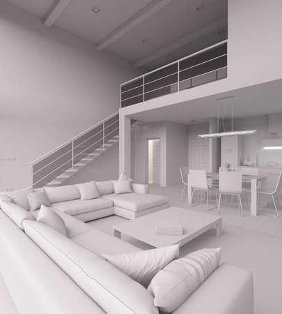 bedroom suite: 3D Interior rendering of a modern tiny loft