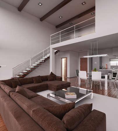 rendering: 3D Interior rendering of a modern tiny loft
