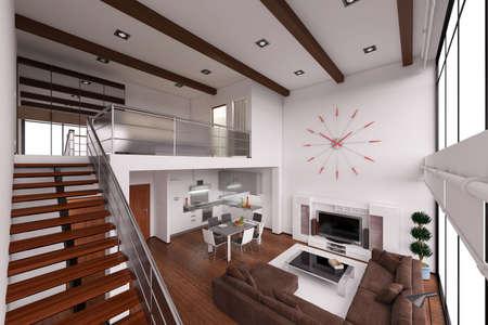 interior bedroom: 3D Interior rendering of a modern tiny loft
