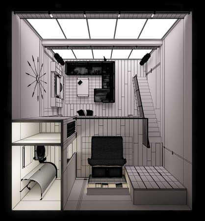tiny: 3D Interior rendering of a modern tiny loft