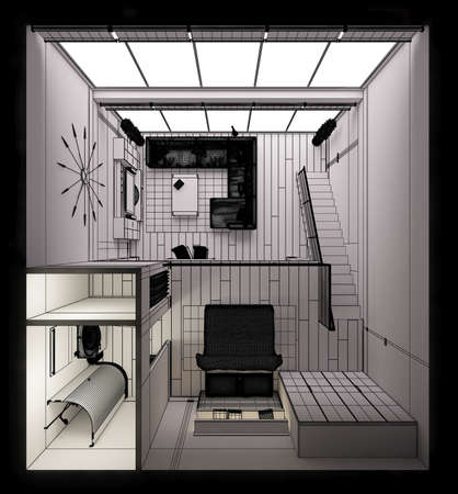 Representación 3D del interior de un moderno pequeño altillo