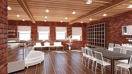 furnished: 3D Interior rendering of an ideal tiny loft