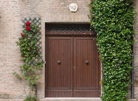 costruction: Entrance door of an an old house in Ferrara Italy