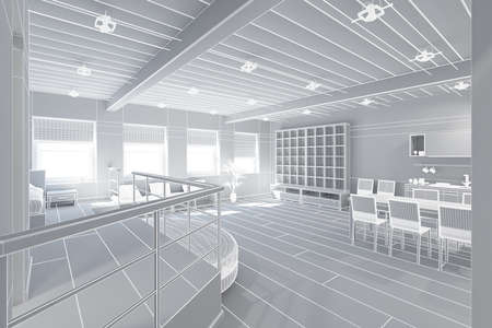 openspace: 3D Interior rendering of an ideal tiny loft