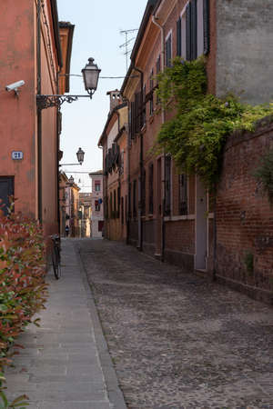 costruction: Old alley in the city centre of Ferrara Italy