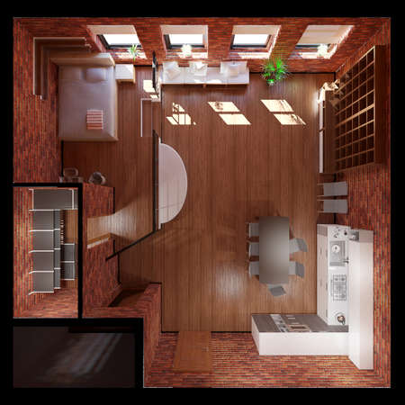 ideal: 3D Interior rendering of an ideal tiny loft