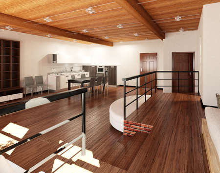 3D Interior rendering of an ideal tiny loft