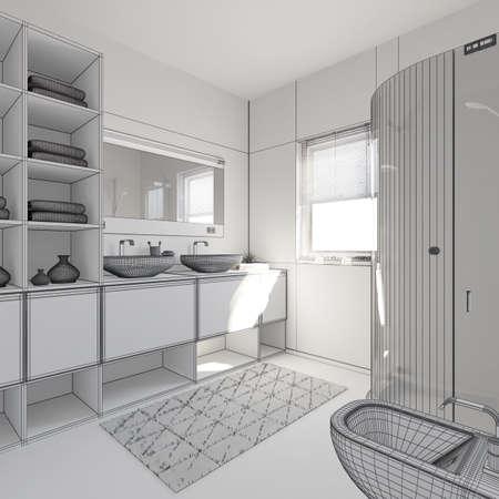 3D-Interieur Ein Modernes Bad Rendering Lizenzfreie Fotos, Bilder ...