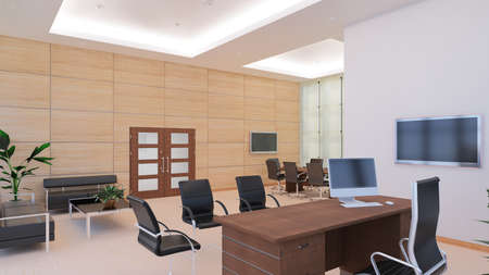 chairman: 3D Interior rendering of a modern office