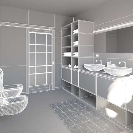 furnish: 3D interior rendering a modern bathroom Stock Photo