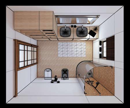 furnish: 3D interior rendering a modern bathroom Stock Photo