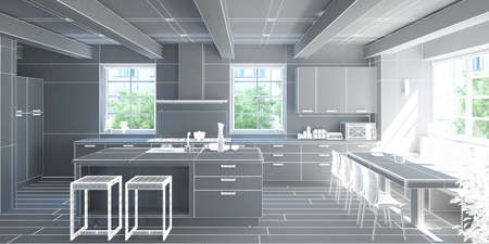 rendering: 3D Interior rendering of a modern kitchen without textures