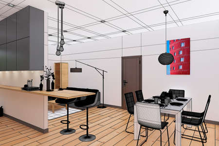 architect drawing: 3D Interior rendering of an open space Apartment