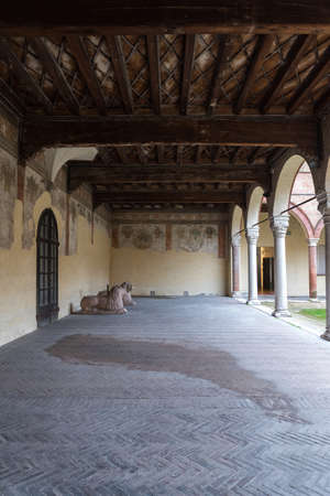 Interior garden in a famous ancient house in Ferrara city Stock Photo
