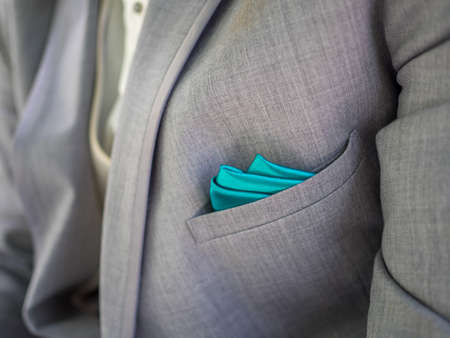 suave: Grey suit with blue highlights Stock Photo