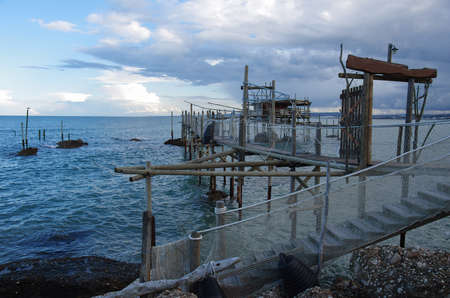 A Trabucco or fishing trap used as a typical restaurant with fish-based cuisine.