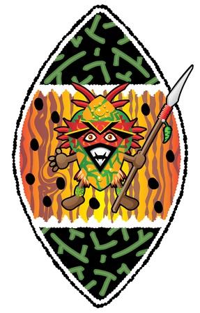 African warrior with mask holding his spear  Ilustração