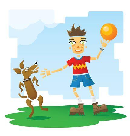 Happy smiling boy holding orange inflatable ball  Happy dog jumping