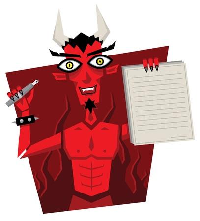 Deal met de duivel De duivel heeft een contract ondertekenen, slechte zaak Stock Illustratie
