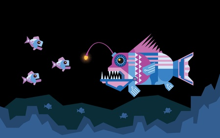 The angler fish uses its illuminated lure for attract prey