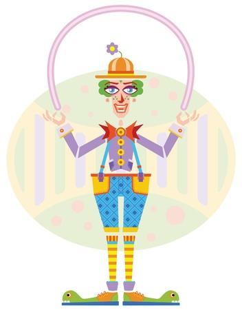felicitation: Happy clown holding balloon   Illustration