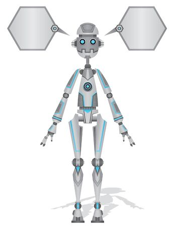 Robot blue and grey with Text Bubble