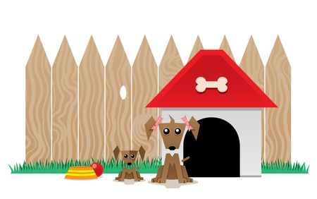 Mother dog with her little puppy sitting in front of his kennel Ilustração