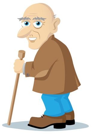 古い男は杖が付いている立場し、彼の頭は、彼の笑顔になります
