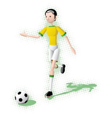 Soccer player prepares to kick the ball. Ilustração