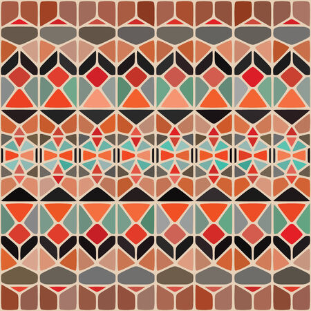 Abstract Ethnic Background. This design can be used as pattern. Vector illustration created with Voronoi diagrams. Ilustração