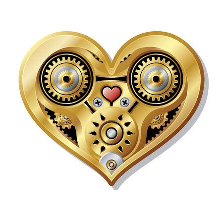Mechanical Heart with an steampunk style.  Ilustração