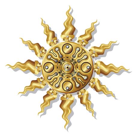 Mechanical sun with an steampunk style.  Ilustração