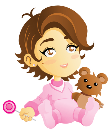 A vector Illustration of a cute baby girl with his Teddy Bear and candy.