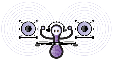 A DJ with headphones mixing music on your turntable. Vector
