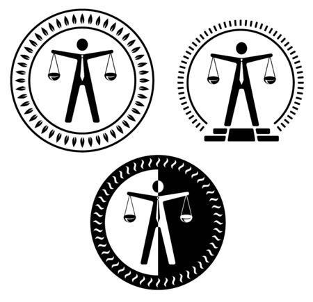 scale of justice: A figure that depicts a lawyer holds in his hands a balance.