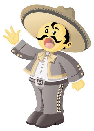 sombrero de charro: Una ilustración de un canto mariachi mexicano con su traje tradicional.