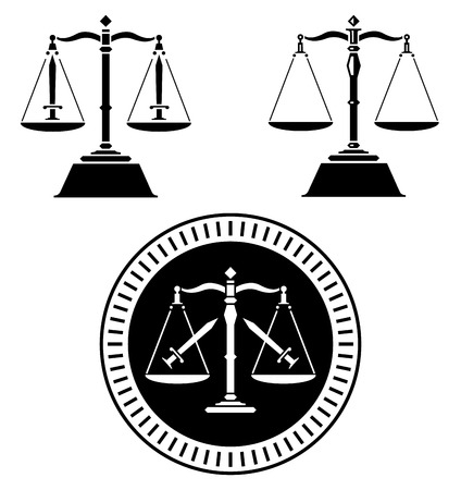legal scales: An illustration of three black justice scales.